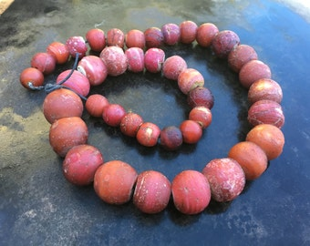 Antique Cornaline D'Aleppo trade beads, weathered and wonderful
