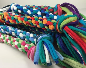 Rope Dog Toy Regular Size in CUSTOM Colors Made From Upcycled T-shirts