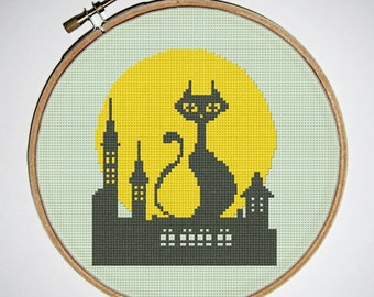 Cat On The Roof Cross Stitch Pattern, Silhouette Pattern, Modern Stitching, Cat Pattern, Colors:2, Digital, PDF, Instant Download #02-06