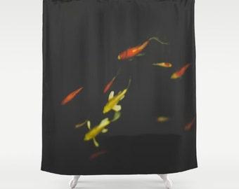 Black Shower Curtain Asian Elegant Bath Koi Pond