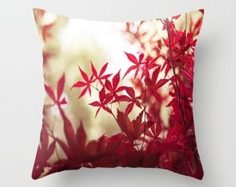 Photography pillows, velveteen pillow, fall pillow, autumn pillow, autumn decor, red leaves, fall decor, rustic decor, rustic pillow, autumn