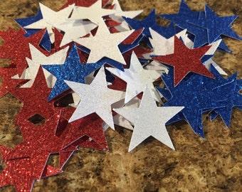 Star confetti, 4th of July confetti, red white and blue