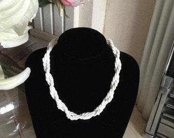 Vintage Necklace, 1950s, White Glass, Multi Strand,