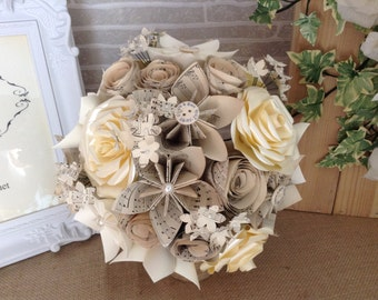paper flower bouquet, origami flowers,sheet music,personalised buttons,bridal bouquet, first wedding anniversary bouquet