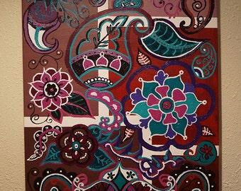 Purple Paisleys/18x18/acrylic painting