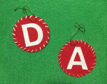 Letter Felt Christmas Ornaments Personalized - Up to 10