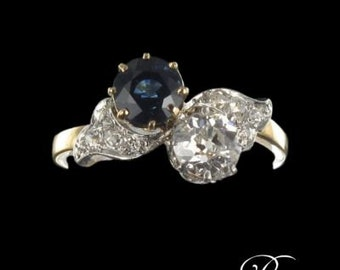 Ring you me old Sapphire diamond gold 18K 19th rose