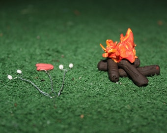 Miniature fire w/ marshmellow and hot dog sticks ~ Polymer Clay