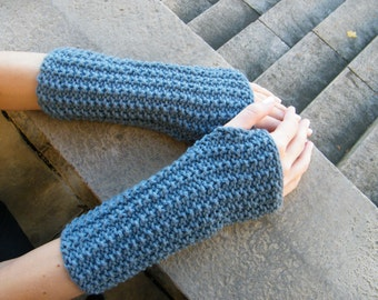 Knitted Blue Fingerless Arm Warmers - Hand Made