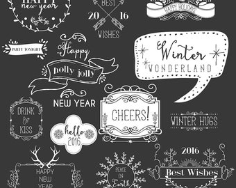 Digital Download Clip Art, Holiday Overlay, Happy new year lettering Overlay, Typography Clip Art, Photography overlay, Holiday Graphics