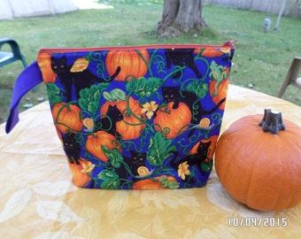 "Medium Zippered Knitting/Crochet Bag 11.5""x10""  Black Cats, Pumpkin Vines And Frogs - Too Cute!!"