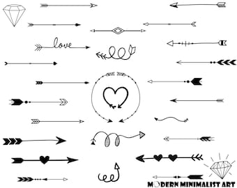 28 PNGS, Arrows, Arrow Clip art, Assortment of Arrows, Clipart, Cute Arrows, Kawaii Arrows, Heart Arrows, Whimsical Arrows, DIY Arrows