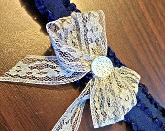 Gray Lace Bow and Headband