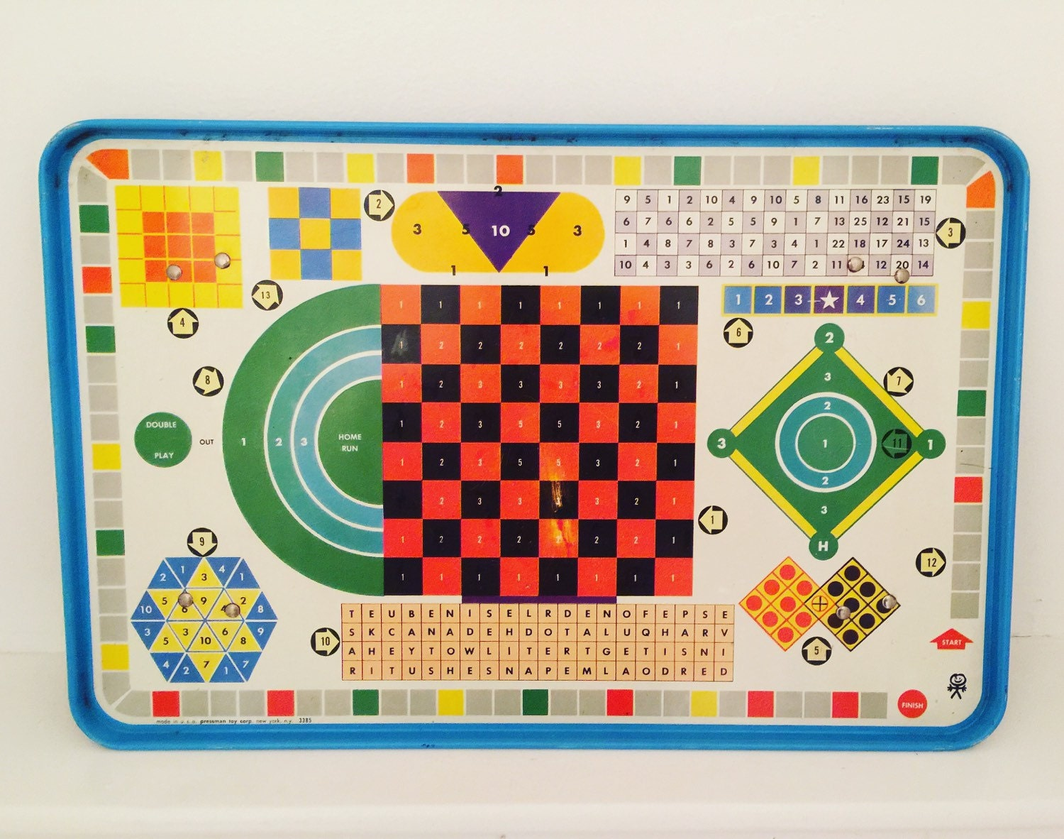 vintage metal board game tv tray with several games pressman. Black Bedroom Furniture Sets. Home Design Ideas