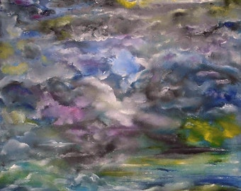 Large Oil Painting Wall Art On Canvas by Volodymyr Myriyevskyy- Dreaming.. Size: 24'' x 16'' (60x40cm) Original, Magical Seascape, Dreaming.