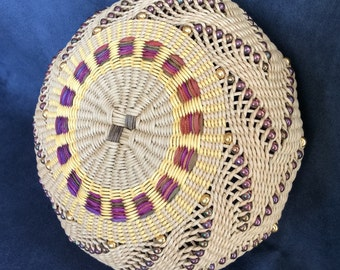 Golden Arrow by Twisted Spokes : Hand Woven Basket, Twined Basket, Waxed Linen, Cotton Cord, Handwoven