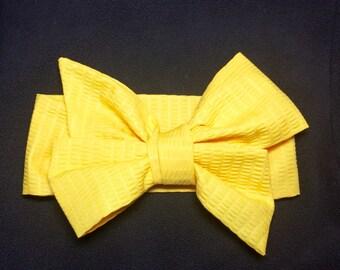 Yellow Headwrap, Pucker Fabric, Baby Headband, Toddler Bows, Big Bow Headwrap, Headband, Turban, Infant Headwrap, Baby Girl Headwrap