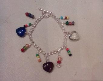 Glass heart charm bracelet