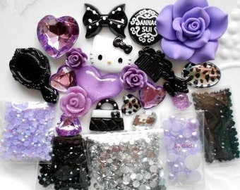 Purple hello kitty cellphone deco kit