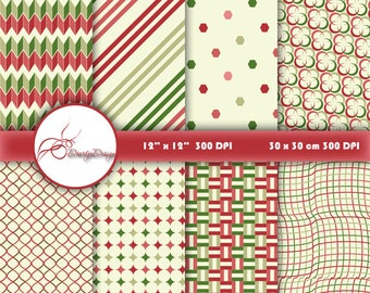 SALE Red and green Digital Papers, scrapbook papers, scrapbooking paper pack, background paper, instant download 190