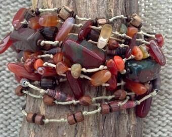 Bloodstone, Fire Agate and Coconut wood adjustable bracelet