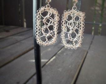 Crochet Sterling Silver Rectangle Earrings