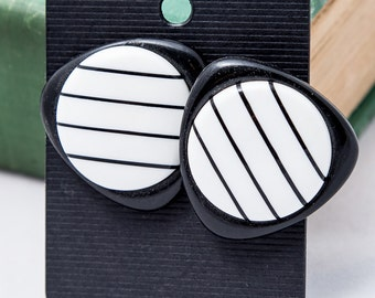 Black and White Atomic Earrings