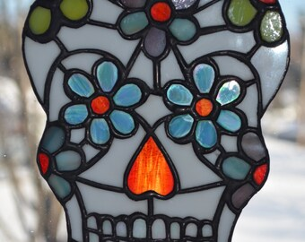Day of the Dead Sugar Skull Stained Glass Sun Catcher Dia de