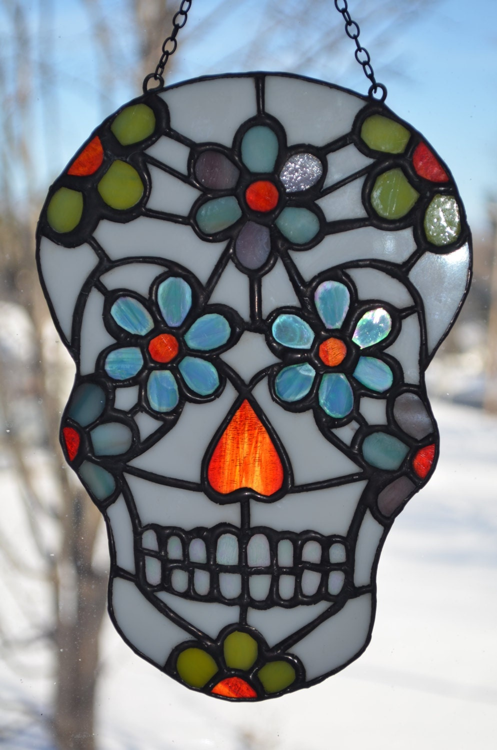 Day of the Dead Sugar Skull Stained Glass Sun catcher:Unique