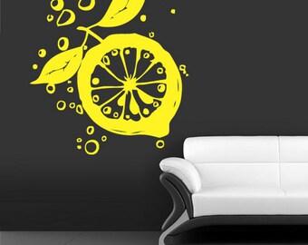 rvz701 Wall Decal Vinyl Sticker Fresh Lemon Bubbles