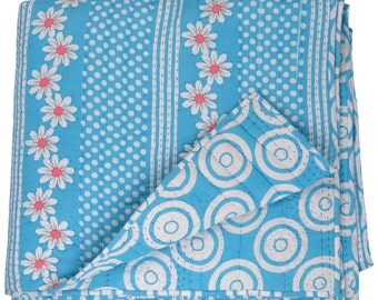 King Size Cotton Blue Kantha reversible Quilt made in India