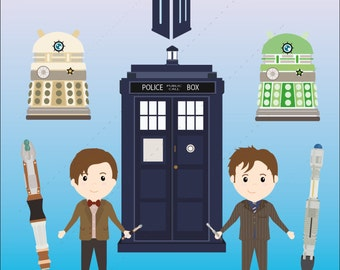 Doctor who clipart pack 2, tardis clipart, dalek clip art 5 x 300dpi PNG transparent files