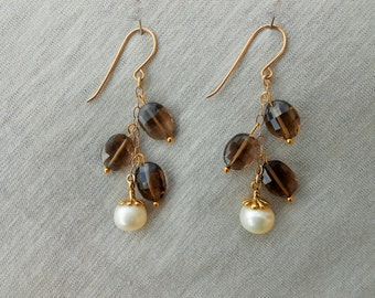 Smoky quartz earrings, Smoky quartz dangle earrings, Smoky quartz drop earrings