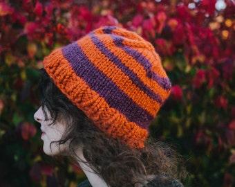 Striped Hat in Orange and Purple