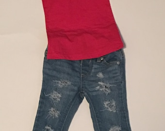 Distressed baby and girl jeans