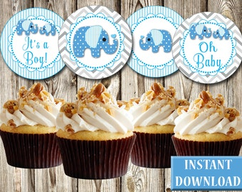 """Baby Shower, Blue Elephants, Gray Chevron, Boy, Cupcake Toppers, Tags, Labels, DIY, Printable, PDF, Round 2.5"""""""