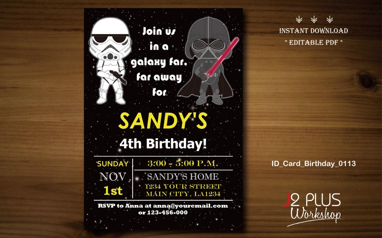 Instant download star wars birthday invitation card star for Instant download invitations