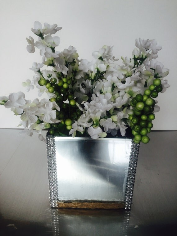 Square glass vase mirror design home accent decor faux white