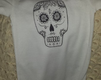 9M Hand drawn sugar skull onesie