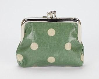 Double Coin Purse- Green polka dot- Small ladies wallet- Oilcloth clasp coin wallet- Oil cloth Kissloch purse- laminated cotton- travel card