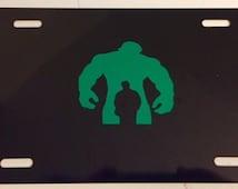 Boy Inside Monster No words -  Black with Green License Plate INSERT-  Super Hero Hulk