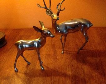 brass deer set