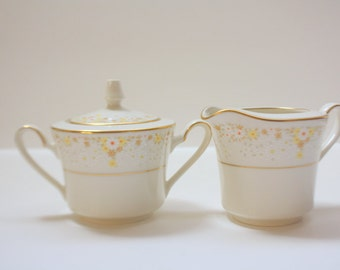 Vintage Noritake Fragrance Japan 7025 Handled Creamer Pitcher and Covered Sugar Bowl