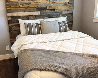 Reclaimed Pallet wood Mosaic HeadBoard