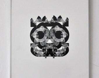 Seriagrafie/printing of Wolf Magin, Experimenta litera, XXXII, 1975 font black line.