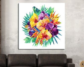 Exotic Orchid, Tropical Watercolor Gallery-Wrapped Canvas