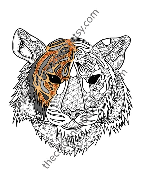 digital tiger coloring sheet animal coloring pdf zentangle