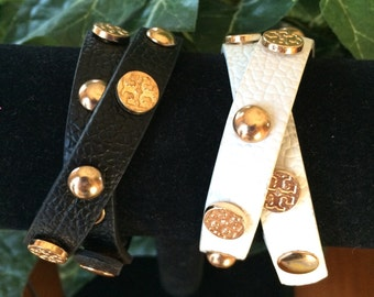 Bonded Leather Double Wrap with Gold Rivets