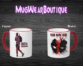Deadpool Mug, 11 oz Red Rim Mug