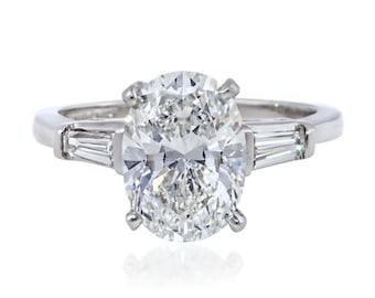8.00 ctw  Oval Solitare  With Accents Engagement/Wedding/Anniversary/Promise Ring Solid 14K White Gold #4664